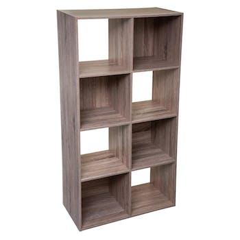 Etagère en bois naturel 8 casiers 134 cm