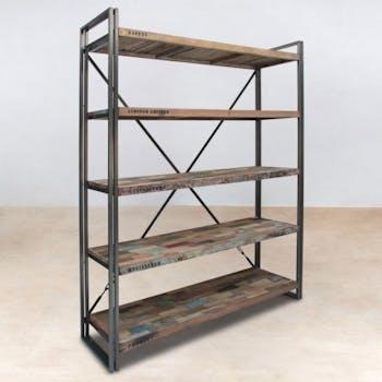 Bibliotheque etagere en bois recycle et metal de style indutriel