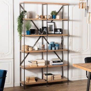 Etagere bibliotheque en bois et metal de style contemporain