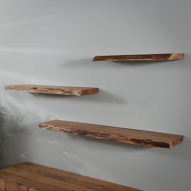 Etagère murale bois massif bordure naturelle 60 cm MELBOURNE