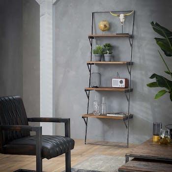 Etagere bibliotheque echelle en bois recycle et metal style industriel