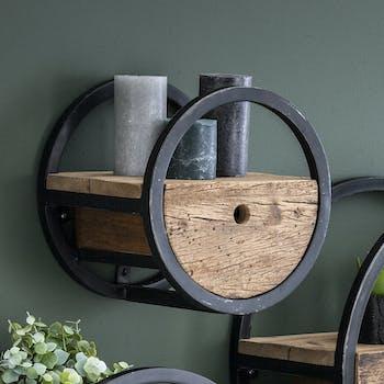 Etagère murale ronde bois recyclé brut 1 tiroir D30 cm CYCLADES