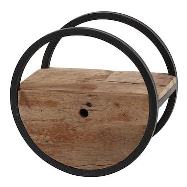Etagère murale ronde bois recyclé brut 1 tiroir D40 cm CYCLADES