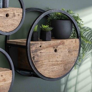 Etagère murale ronde bois recyclé brut 1 tiroir D50 cm CYCLADES