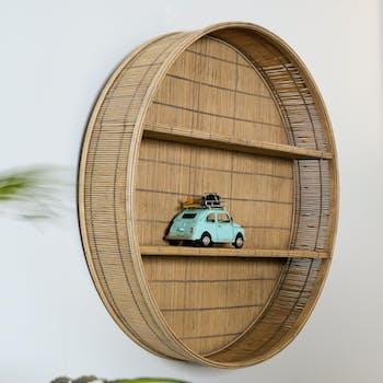 Etagère murale ronde en bambou D 60 cm