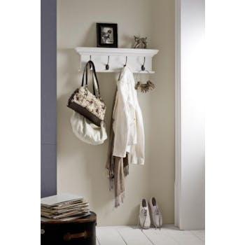 Etagère porte manteaux moderne bois blanc 4 patères acajou L70xP20xH10cm ROYAN