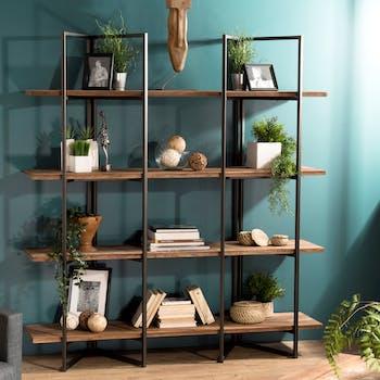 Etagere bibliotheque en bois recycle et metal de style contemporain