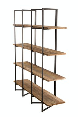 Etagere bibliotheque en bois recycle et metal de style contemporain