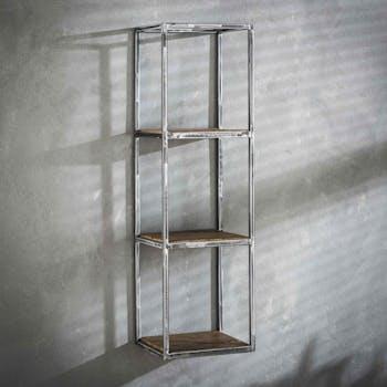 Etagere en bois recycle et metal vieilli de type indistriel