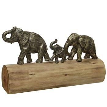 Famille d'éléphants sur tronc
