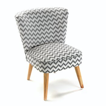 Fauteuil chaise Club en tissu blanc gris motif zigzag et pieds bois 52x57x70cm COPPEN