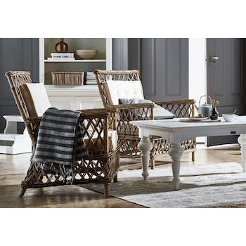 Fauteuil / Chaise de salle à manger en rotin motif croisé, coussin 70x94cm ROYAN