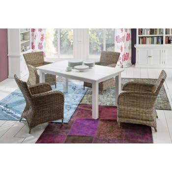 Fauteuil / Chaise en rotin de salle à manger avec accoudoir et coussin 65x90cm ROYAN