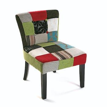 Fauteuil chaise en tissu Patchwork coloré et pieds bois 50x64x73cm EIDER