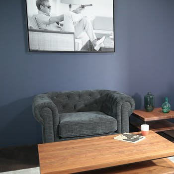 Fauteuil chesterfield en tissu anthracite chiné YORK