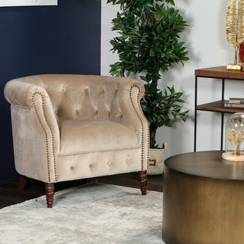 Fauteuil club en velours taupe WELLS