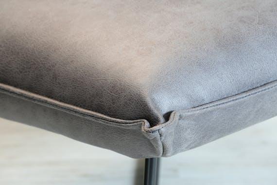 Fauteuil Club tissu uni PU noir gris foncé façon vieilli LUCKNOW réf 30020878