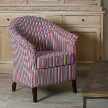 Fauteuil crapaud coton à rayures rose multicolor MIRA