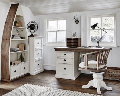 Fauteuil de bureau blanc bois recyclé pivotant BRISTOL