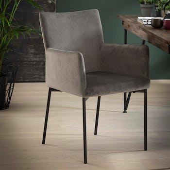 Chaise fauteuil en tissu velours gris pieds metal style contemporain