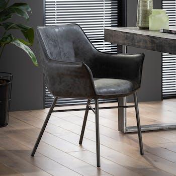 Chaise fauteuil en tissu gris pieds metal style contemporain
