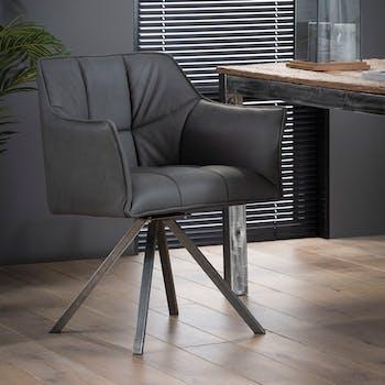 Chaise fauteuil en tissu noir pieds metal de style contemporain