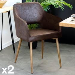 Fauteuil de table marron chocolat (lot de 2)