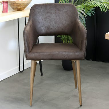 Fauteuil de table marron chocolat zigzag