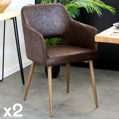 Fauteuil de table marron chocolat zigzag (lot de 2)