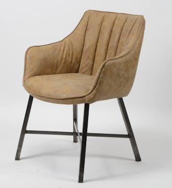 Chaise fauteuil en tissu marron pieds metal style contemporain