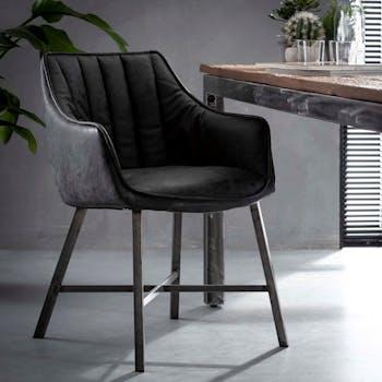 Chaise fauteuil en tissu noir pieds metal style contemporain