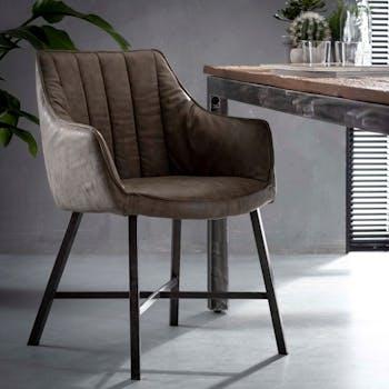Chaise fauteuil en tissu beige taupe pieds metal style contemporain