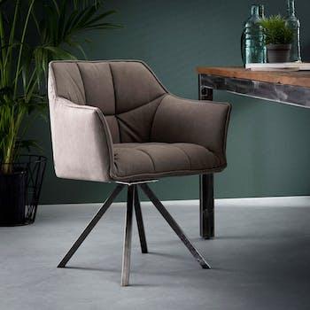 Chaise fauteuil en tissu gris pieds metal de style contemporain