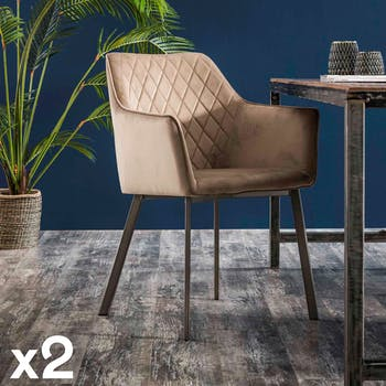 Fauteuil de table velours sable motif losange (lot de 2) MELBOURNE