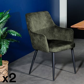 Fauteuil de table velours vert kaki (lot de 2) MALMOE