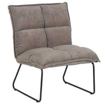 Fauteuil moderne en velours taupe MALMOE