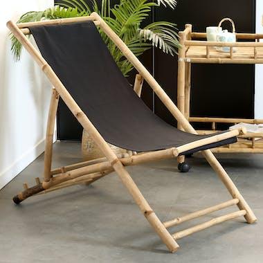 Fauteuil relax bambou tissu noir