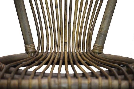 Fauteuil rond rotin naturel pieds métal CANADA