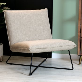 Fauteuil salon contemporain beige LUCKNOW