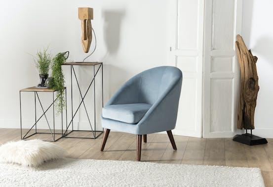 Fauteuil velours bleu clair pieds bois STOCKHOLM