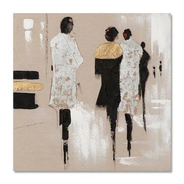 FEMMES 70x70 Peinture acrylique carrée Marron et Argent avec feuilles de métal