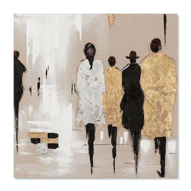 FEMMES 70x70 Peinture acrylique carrée Marron et Doré avec feuille de métal