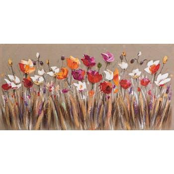 FLEURS Tableau coquelicots colorés canva panorama 140x70