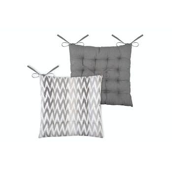 Galette de chaise 16 points imprimée gris en coton 40x40cm IKATI