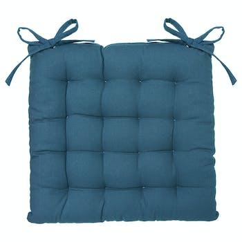 Galette de chaise bleu canard en coton recyclé 38x38