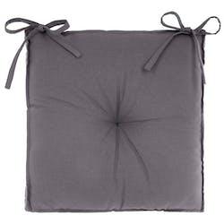 Galette de chaise en coton gris foncé 40x40x6cm