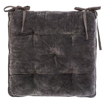 Galette de chaise en velours côtelé gris