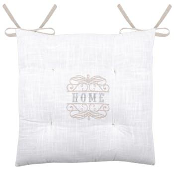 Galette de chaise romantique 4 points blanc taupe