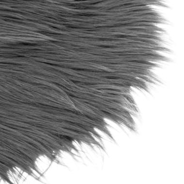 Galette de chaise ronde à poils longs gris foncé D32 cm