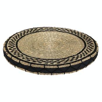 Galette de chaise ronde roseau et tissu noir